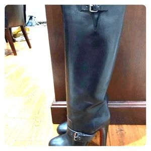 Christian Louboutin knee high boots with buckles